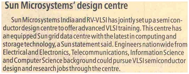 Sun MicroSystem and RV-VLSI set up Advanced VLSI and Embedded training center in Bangalore
