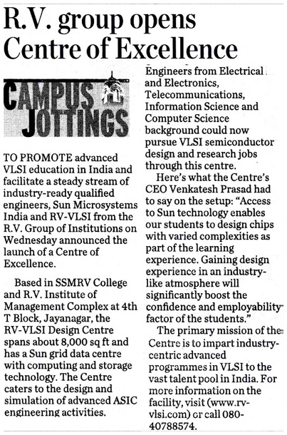 4 cr rupees VLSI and Embedded training center in Bangalore set up by RV-VLSI design center