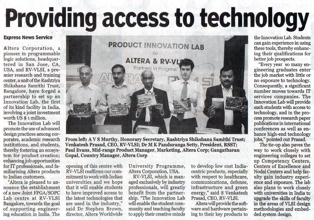 Tie-up between Altera and RV-VLSI to offer FPGA Training Courses and setting up of innovation lab -IndianExpress