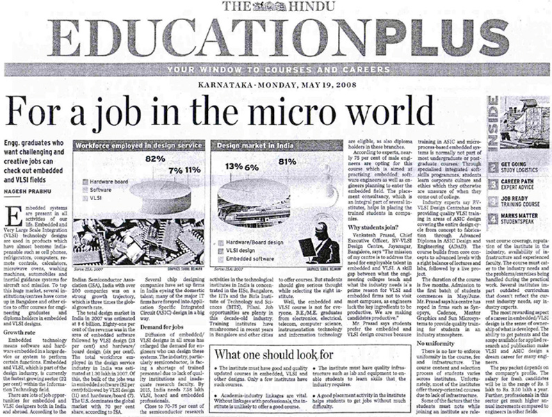 RV-VLSI press coverage in The Hindu, VLSI and Embedded system Jobs