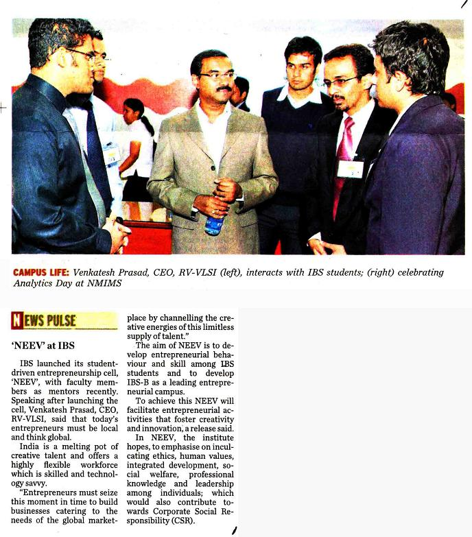 IBS- Launch E-CELL???NEEV News in The Hindu